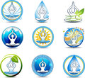 Yoga beautiful relaxation symbols nature involved in human health Royalty Free Stock Photo