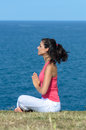 Yoga breathe exercise and sea Stock Photography