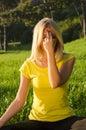 Yoga breathing exercise Royalty Free Stock Photo