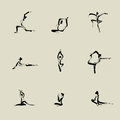 Yoga chinese brush icon drawing set Stock Photography