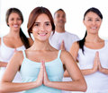 Yoga class group of people in a Royalty Free Stock Images
