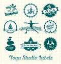 Yoga class labels and icons collection of retro style Stock Images