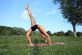 Yoga class outdoors near river Royalty Free Stock Photography
