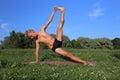 Yoga class outdoors near river Stock Image
