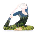 Yoga double exposure portrait of woman performing asana reflects unity of human and nature Royalty Free Stock Photography