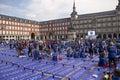 Yoga event on Plaza Mayor in Madrid, Spain