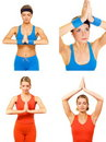Yoga exercise set Stock Image