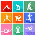 Yoga exercise silhouettes
