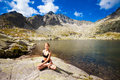 Yoga exercising in tatry mountains exercise everywhere slovakian beautiful panorama chata teryho kotlina piatich spisskych plies Royalty Free Stock Image