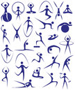 Yoga fitness image of blue icons with silhouettes of girls involved in sports Royalty Free Stock Photography