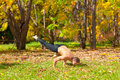 Yoga galavasana pose man exercises in the autumn forest Stock Image
