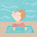 Yoga girl hand drawing cartoon happy practice Royalty Free Stock Photo