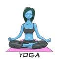 Yoga. Girl in the lotus position. Alien girl Royalty Free Stock Photo