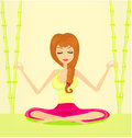 Yoga girl in lotus position illustration Royalty Free Stock Image