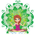 Yoga girl in lotus position illustration Royalty Free Stock Images
