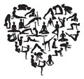 Yoga heart a shape made from silhouettes in or pilates poses Stock Image