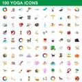 100 yoga icons set, cartoon style