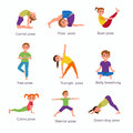 Yoga kids poses set
