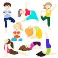 Yoga kids set 3 Royalty Free Stock Photo