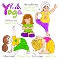 Yoga kids set. Royalty Free Stock Photo