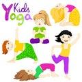 Yoga kids set 2 Royalty Free Stock Photo
