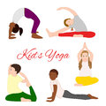 Yoga kids set gymnastics for children and healthy lifestyle vector illustration Stock Image