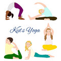 Yoga kids set gymnastics for children and healthy lifestyle vector illustration Royalty Free Stock Image