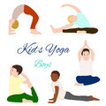 Yoga kids set gymnastics for children and healthy lifestyle vector illustration Stock Photos