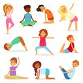 Yoga kids vector young child yogi character training sport exercise illustration healthy lifestyle set of cartoon boys