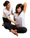 Yoga lesson for pregnant woman Royalty Free Stock Photo