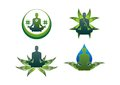 Yoga logo green lotus leaf water icon