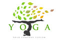 Yoga logo illustration representing a zen with a man standing in position and leaves flying around him Stock Images