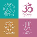 Yoga logo set. Floral and nature harmony, zen health vector symbols