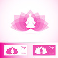 Yoga lotus flower meditation man logo shape Royalty Free Stock Photo