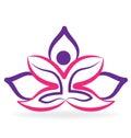 Yoga man with lotus flower logo