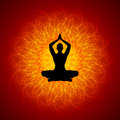 Yoga on manadala position mandala background Royalty Free Stock Image