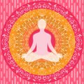 Yoga mandala sitting pose human silhouette pink white orange