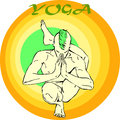 Yoga meditation asana hand drawn illustration about the handsome yogi playing asanas positions Stock Photos