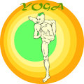 Yoga meditation asana hand drawn illustration about the handsome yogi playing asanas positions Royalty Free Stock Image