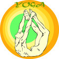 Yoga meditation asana hand drawn illustration about the handsome yogi playing asanas positions Royalty Free Stock Photography