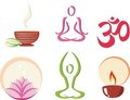 Yoga, meditation concept set of icons Royalty Free Stock Photography