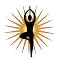 Yoga meditation pose and gold sun graphic illustration Royalty Free Stock Photo