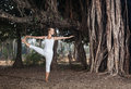 Yoga near banyan tree woman in white costume doing big in goa india Royalty Free Stock Images