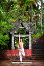 Yoga near temple in jungle Royalty Free Stock Photography
