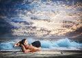 Yoga nidrasana yogic sleep pose Royalty Free Stock Photo