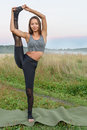 Yoga with one leg up beautiful yogini stands in a pose on another Stock Images