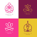Yoga outline logo design elements. Set of vector yoga icons and