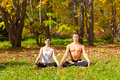 Yoga padmasana pose Royalty Free Stock Photos