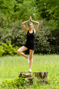 Yoga in the park female instructor on stump green garden Stock Image