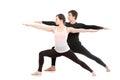 Yoga with partner, Virabhadrasana 2 Royalty Free Stock Photo